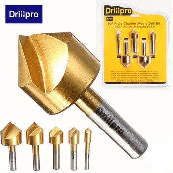 Drillpro 5 шт., метрическое сверло с потайной раковиной, 90 градусов, Одна Флейта, кромка, 6 мм-19 мм, Высокоуглеродистая Сталь, деревообрабатывающий инструмент