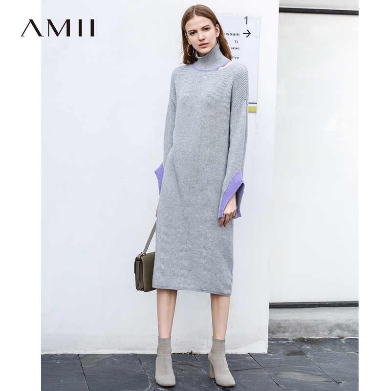 faf5e8cd372 Amii для женщин Минималистский осень 2018 г. Платье Chic офисные женские  туфли элегантный Flare рукавом