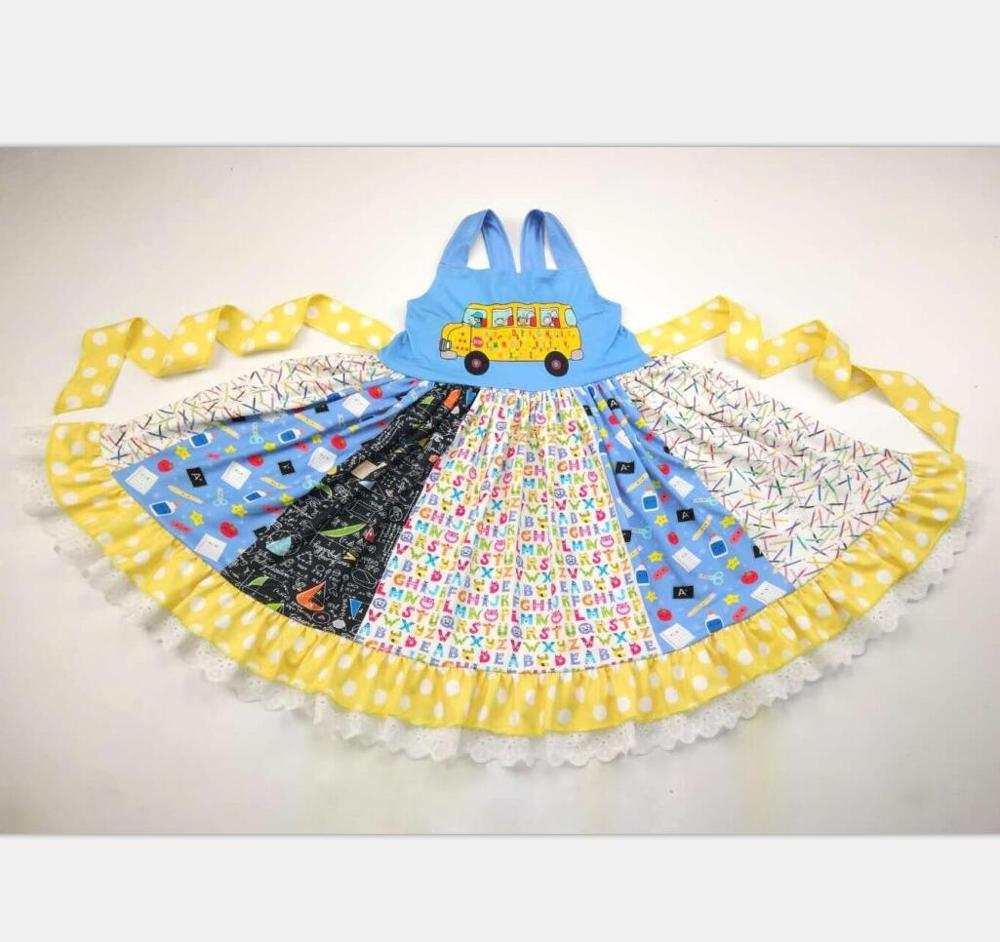 School Bus Coming! Back to School Students Twirl Style Summer Dress For Sibling Girls(China)