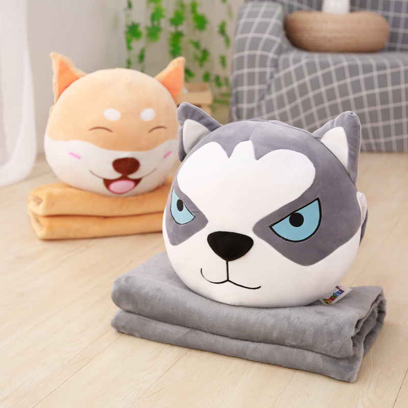 2018 new cotton, feather, dog shaped pillow, Oviductus, sled dogs, warm hand pillow, winter multifunctional sofa cushion blanket