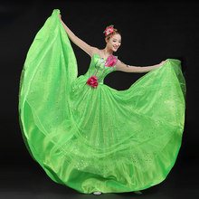 Free ship women ladies long sleeve green leaf sequined dress event  Dresses fairy dress dance dress stage performance