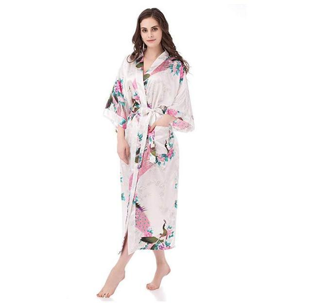 40b05868c78c Putih Wanita Terbaru Kimono Jubah Mandi Bridesmaid Pernikahan Jubah Gaun  Malam Baju Tidur Satin Sutra Yukata