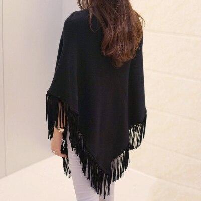 Женский весенне-осенний вязаный свитер, пончо, пальто, однотонный элегантный пуловер, джемпер с неровными кисточками, накидка, накидка для женщин - Цвет: black