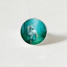 Fashion Vintage Steampunk Style White Unicorn Art Photo Retro  ring Dome Jewelry For Girl Women gift