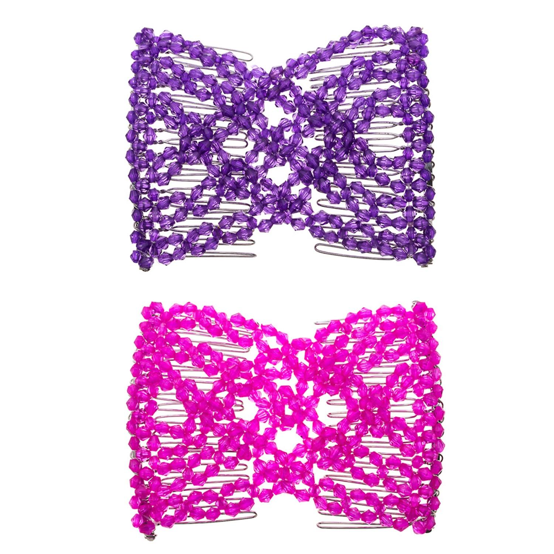 Lovef 2 piezas moda mágica con cuentas elasticidad doble peine Clip elástico mujeres accesorios para el cabello EZ peines