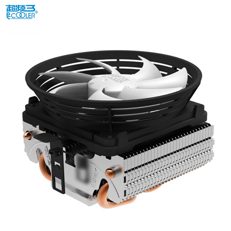PcCooler V4 CPU cooler 2 heatpipe 3pin 10cm quiet fan for AMD for Intel LGA 775 1151 1150 1155 1156 cpu cooling radiator fan quiet cooled fan core led cpu cooler cooling fan cooler heatsink for intel socket lga1156 1155 775 amd am3 high quality