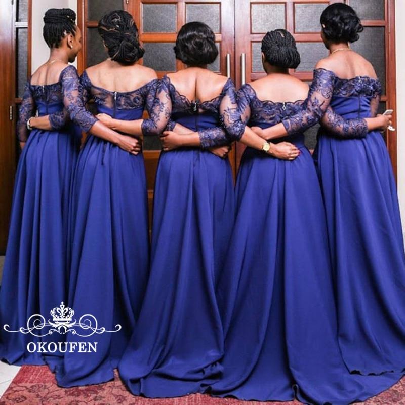 2018 Mermaid   Bridesmaid     Dresses   3/4 Long Sleeves Royal Blue Sheer Lace Top Satin Skirt Off Shoulder African Women Party   Dress