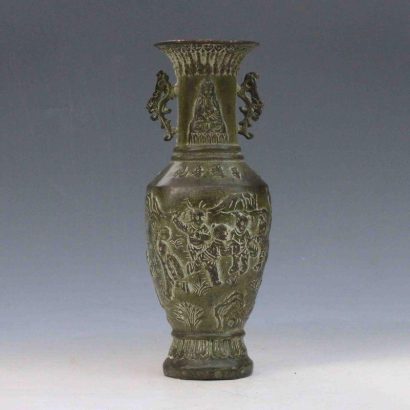 Bronze chinois travail manuel sculpté chanson zi Guanyin Vase Xuande marque