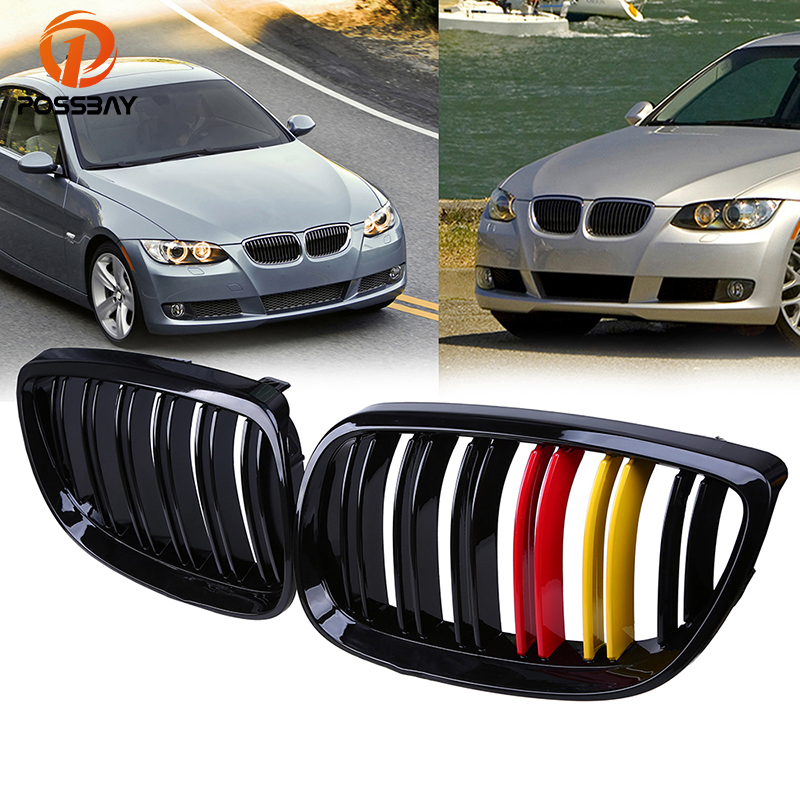POSSBAY Gloss Black Grille for BMW 3-Series E92 Coupe M3 320xd/323i/325d 2007-2013 German Flap Front Bumper Hood Grilles Vent блуза sisley sisley si007ewdhfu0