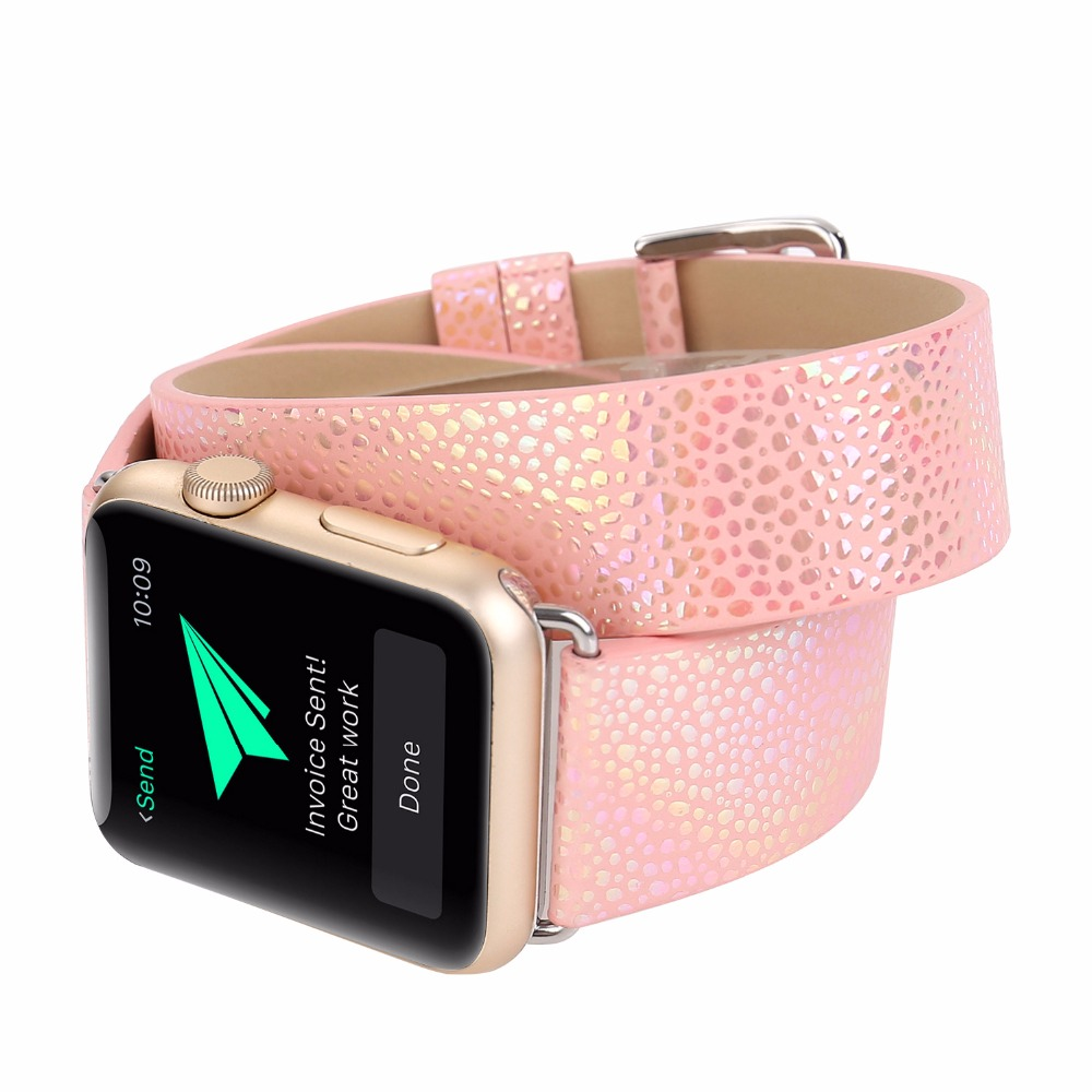 Wrist Strap For Apple iWatch Double Tour Glisten Style Genuine Leather Watch Band For Apple Watch Series 1 2 3 Watchband 38-42mm luxury ladies watch strap for apple watch series 1 2 3 wrist band hand made by crystal bracelet for apple watch series iwatch