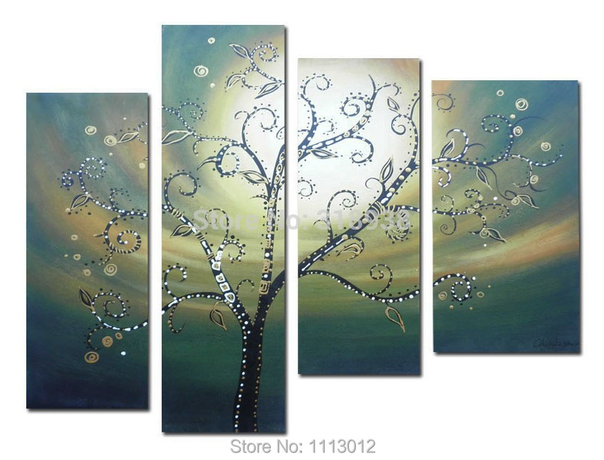 Abstract White Money Sun Tree Flower Oil Painting Hand Painted 4 Panel Arts Set Home Decor Modern Wall Picture For Living Room