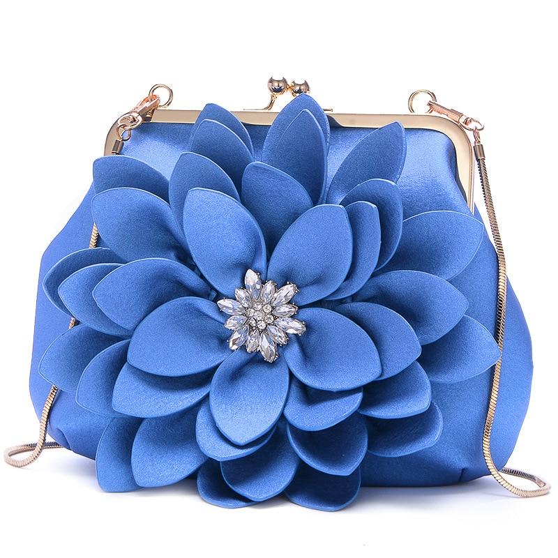 Flower Bag Floral Elegant Clutch Bag Women 2018 Luxury Chain Diamond Shoulder Bags Soft Leather Retro