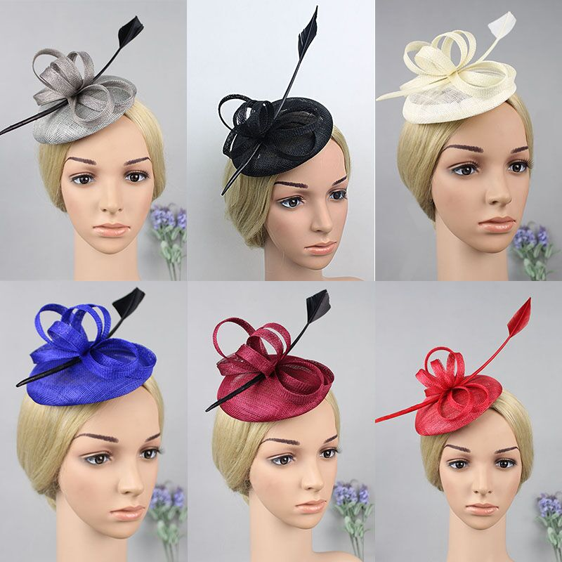 2016 Brand Classic Feather Fascinator Top Hat Wedding Party Women Bridal Sinamay Hairwear Red,Royal Blue Ivory,Wine,Gray Colo free shipping high quality 2015 mini disc flower sinamay fascinator with feather for race