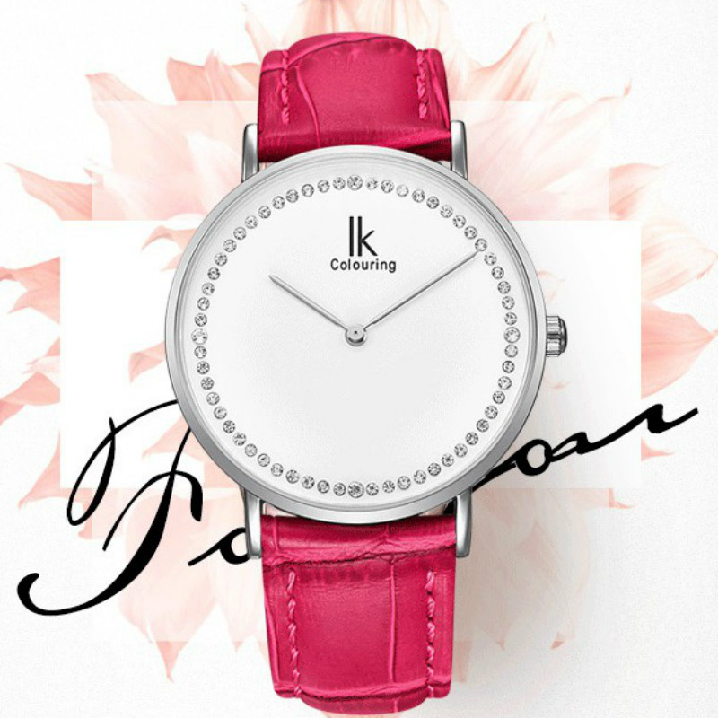 Ladies Ultra Thin Slim Quartz Wrist Watch Leather Strap Woman Wristwatches Clocks With Gift Box cute rose gold crystal flower thin strap small dial leather quartz women ladies wristwatches wrist watch gift
