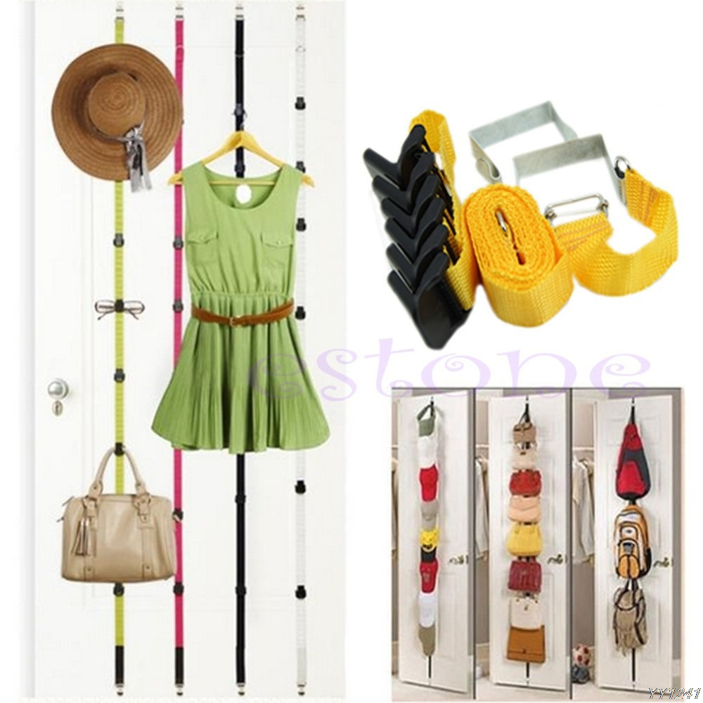 Adjustable Over Door Straps Hanger 8 Hooks Adjustable Hat Bag Clothes Coat Rack Organizer-W110