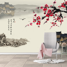 Custom Chinese wash painting 3D wallpaper seamless wall mural non-woven ink peach antique style living room bedroom TV