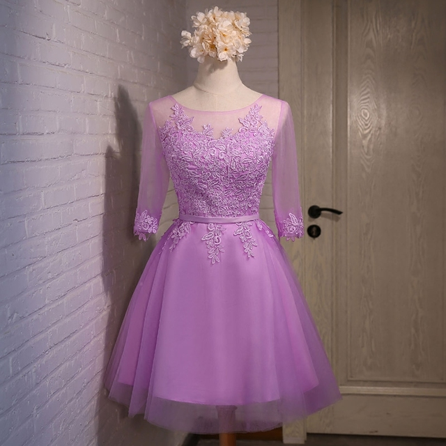 Scoop Neck Lace Tulle Cocktail Dress Lavender 2017 Short Party Dress Lace Up