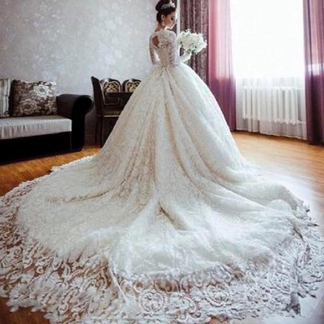 Vestidos lujosos de boda con Royal tren de la catedral de manga ...