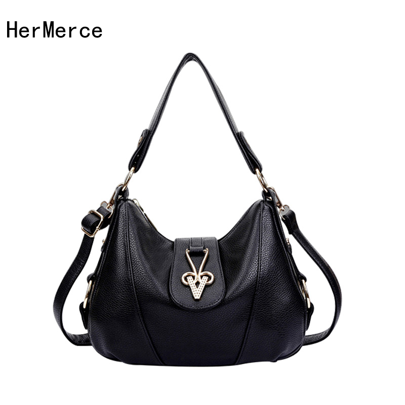 все цены на Hermerce Genuine Leather Bags For Women Famous Brand Top-Handle Bag Ladies Handbag Black Bolsas Femininas Crossbody Feminina Sac