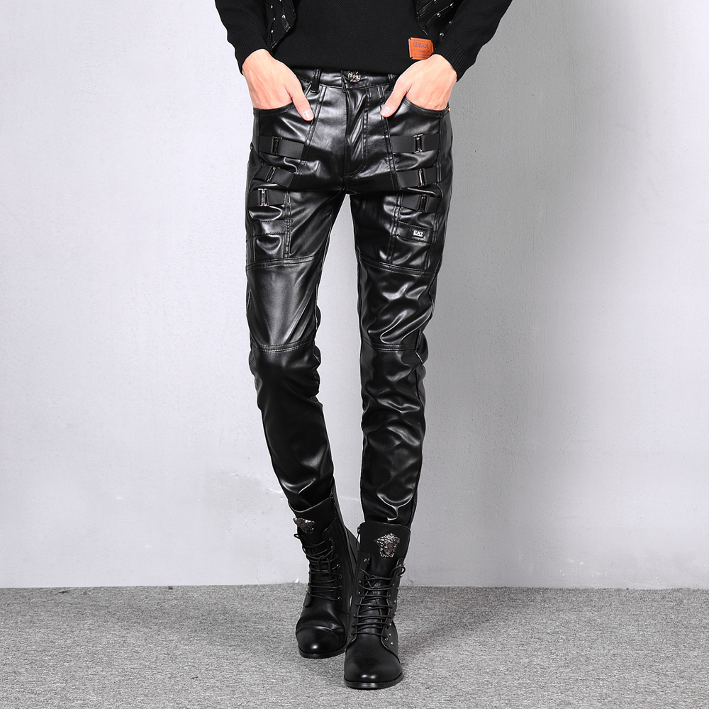 Non Mainstream Metrosexual Nightclub PU Faux Leather Pants Mens Fashion Leggings Mens Casual Pants Hip Hop Joggers Cargo Pants