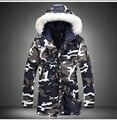 Camuflagem de inverno dos homens com capuz de algodão longo casaco de pele gola da jaqueta moda