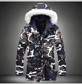 Winter camouflage men hooded long cotton overcoat  fur collar jacket fashion