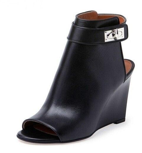 d8447cd7a8e0 Newest 2018 Designer Women Shark Lock Cutout Ankle Boots Black Leather Peep  Toe Cutout Heel Ankle