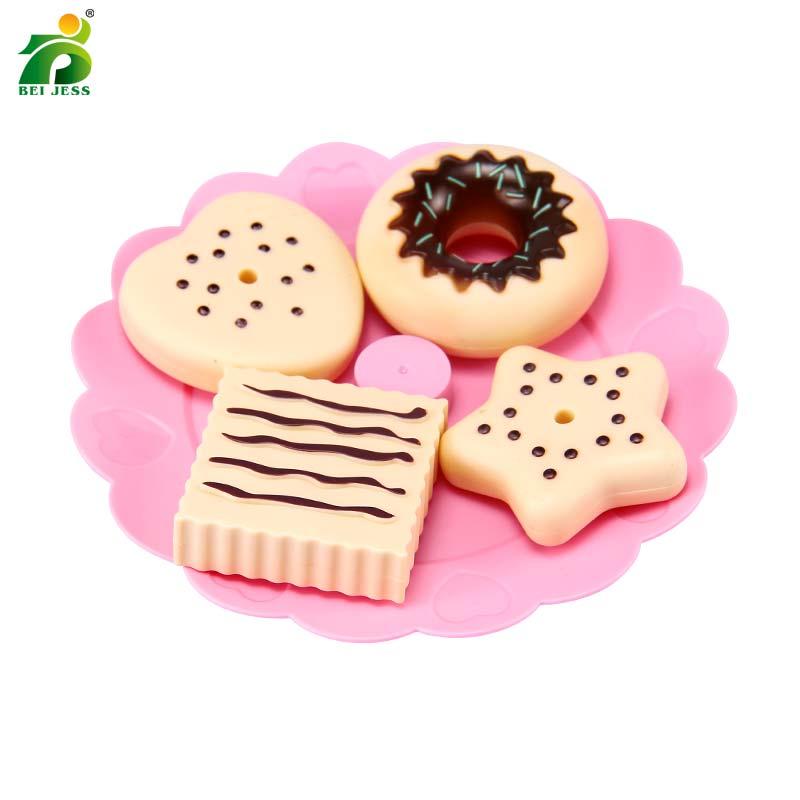Bei Jess 23pcs Girl Pink Cake Tower Mini Cookie Food Set Plastic Kitchen Toys Kids Pretend Play Birthday Gift #4