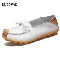 KUIDFAR Leather Women Shoes Flats Mother Shoes Lace Up Fashion Casual Shoes Comfortable Breathable Women Flats