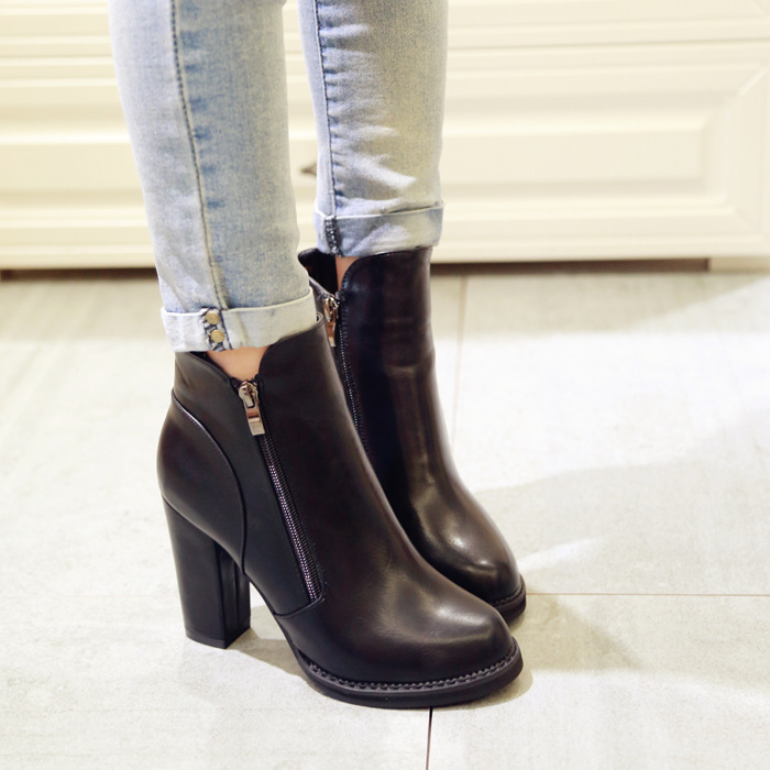 drop shipping 2016 autumn winter female martin boots with double zippler high heels womens ankle boots