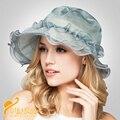 2016 Новый Леди Мода Шелковый Шляпа Солнца Женщин Летом За Пределами Путешествия солнце Шляпа Шапка Женская Широкими Полями Кружева Шелковый Цветок Sunhat B-3196