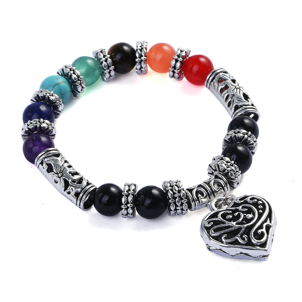 QIYIGE Chakra Yoga bracelet Rainbow seven chakra natural stone yoga energy bracelet peach heart bracelet