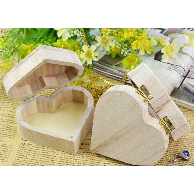 Jewelry Organizer Storage-Box Ring-Case Gifts Heart-Shape Love Wood Necklace