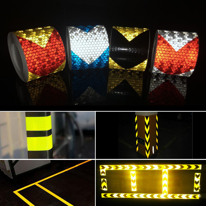 Купить с кэшбэком 50mm width  Shining Reflective Warning Self-Adhesive Stikcer with  Color Arrow Printing for Car