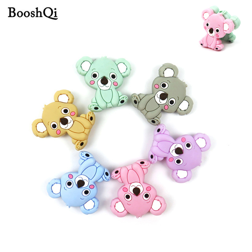 100pc Mini Silicone Beads Koala Baby Teether for DIY Pacifier Chain BPA Free Baby Chew Toys