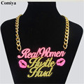 Korea Fashion Big Brand Newest Design Long Chains Necklace Words real women Pendant Europe United State Hot Selling Jewelry