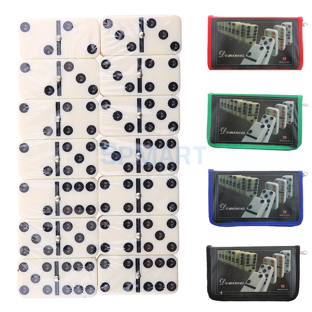 28 Pieces Double 6 Dominoes Building Blocks Traditional Board Game with Bag Kit Home Party Travel Games DIY Kids Educational Toy