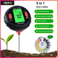 Yieryi New 5 in 1 PH Soil Tester Water Moisture Meter Humidity Thermometer Photometer Water Meter Plants Hydroponics Analyzer