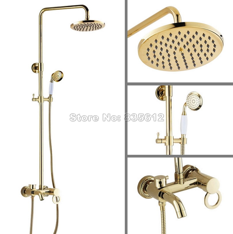Bathroom 8 Shower Head Single Handle Rain Shower Faucet Set /Gold Color Brass Wall Mounted Bathtub Mixer Tap +Hand Spray Wgf414 antique bathroom single handle wall mounted bathtub shower set mixer set faucet tap bathroom shower free shipping hj 6053