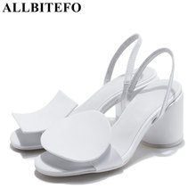 ALLBITEFO thick heel genuine leather novelty charm women sandals fashion brand high heels beach sandals office ladies shoes