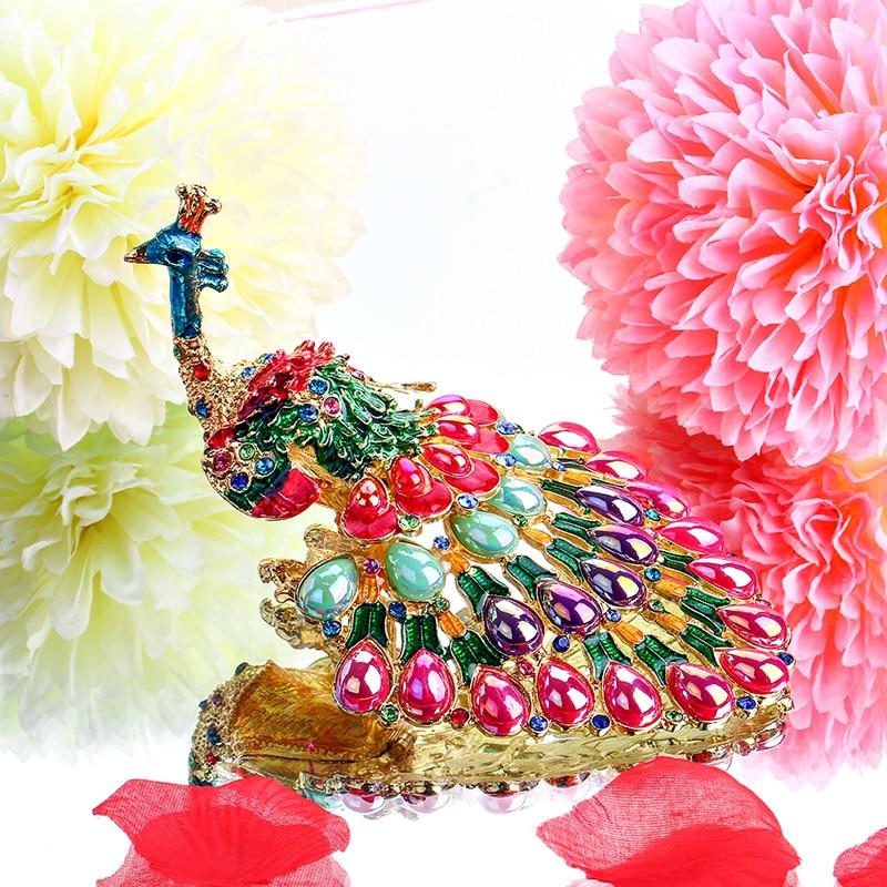 H&D Peacock Trinket Box Ķīļveida gredzenu turētājs Mazās rotaslietas Bejeweled krāšņu kastes figūriņa kolekcionējama dāvana