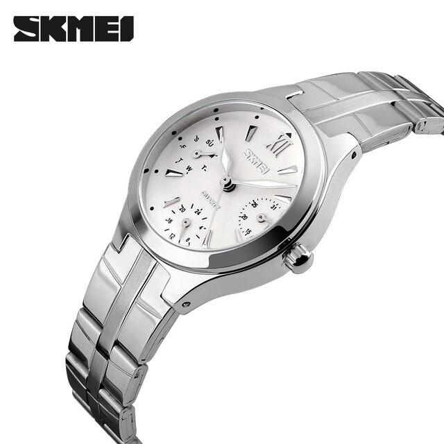 Для женщин Часы SKMEI Для женщин Нержавеющаясталь 30 м Водонепроницаемый кварцевые часы модные женские наручные часы Relogio feminino Montre Femme