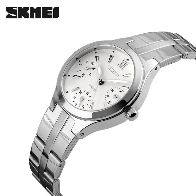 Women Watches SKMEI Women's Stainless Steel 30M Waterproof Quartz Watch Fashion