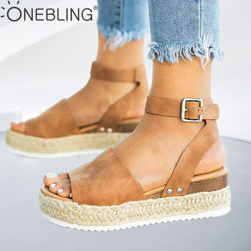 One Bling Plus Size Wedges Sandals Ankle Strap Women High Platfotm Summer Shoes 2019 Espadrilles Ladies Flat Sandals Open Toe