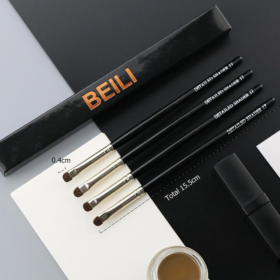 BEILI 1 Piece Goat Hair Precise blending Eye shadow Detailed small shade Single Makeup Brushes Black handle Silver ferrule 12