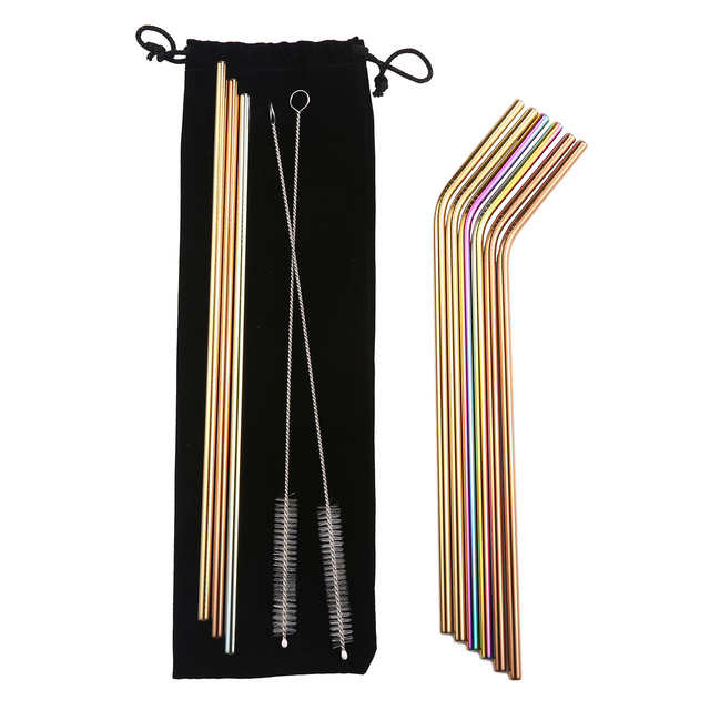 12Pcs/lot Elegant Polished Colorful Stainless Steel Drinking Straw with Cleaning Brush for 20/30 oz Rtic Rambler Tumblers Mugs