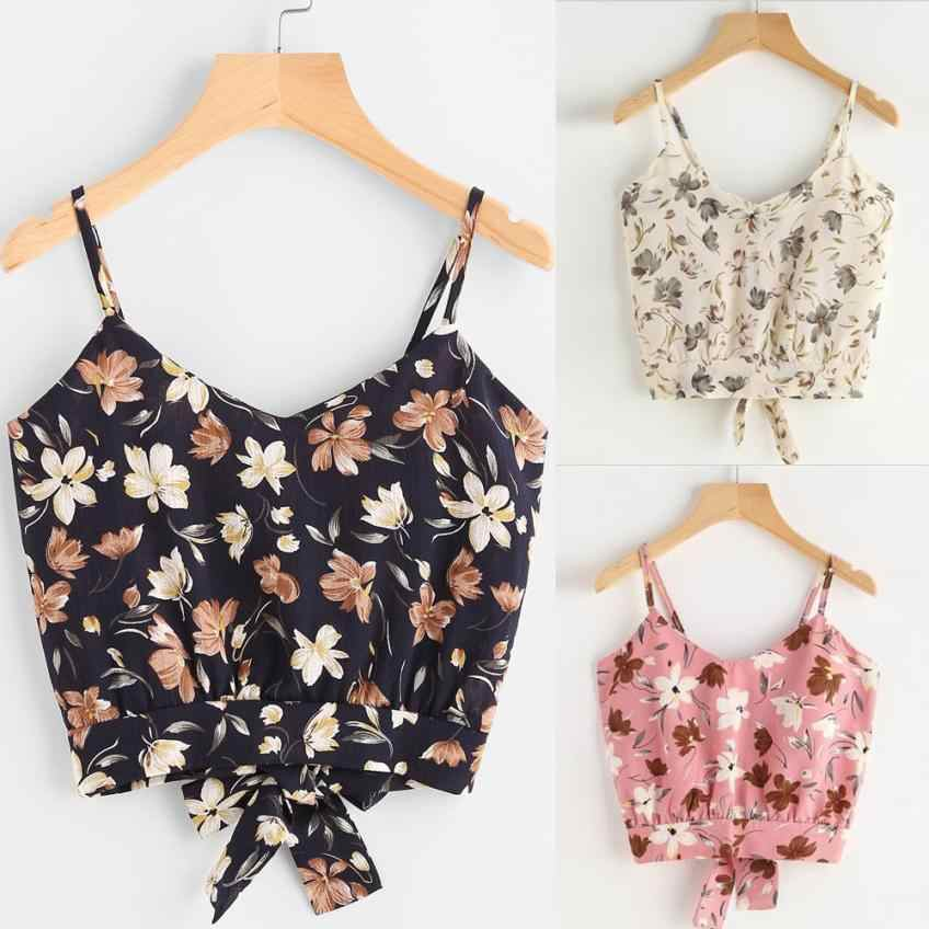 Crop Top Self Tie Back V Neck Print Floral  Cropped Feminino Women Summer 2019  Fashion  Sleeveless Ladies Sexy Vest Tops Tee