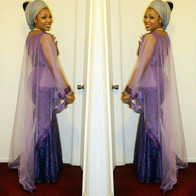 Abi Eso Fashion Purple Long Mermaid Evening Dress With Cap Long African  Nigerian Saudi_Arabia Lace Formal Party Dress Gowns