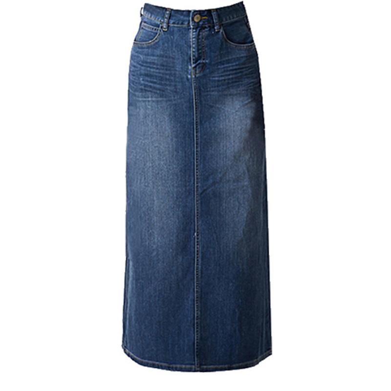 Falda Verano Maxi Otoño Para Mujeres Larga Oficina Mujer denim Vintage Recta Jeans Faldas Hembra 2018 Split Uw8qUC