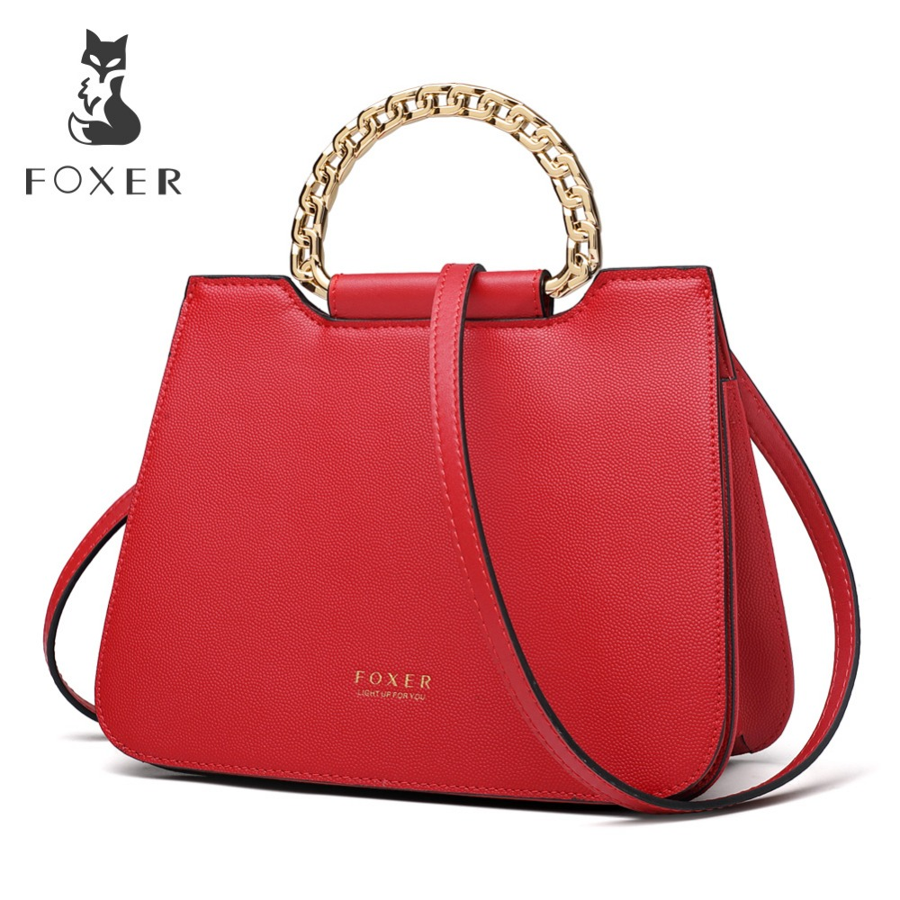 FOXER Brand 2019 New Fashion Female Red Totes for Sexy Lady High Quality Women Chic Handbag